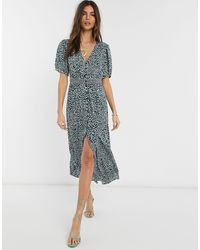 French Connection Cade Spot Print Drape Button Front Midi Dress - Green