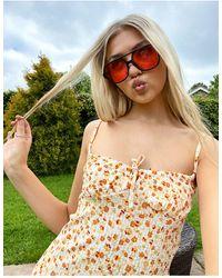 Stradivarius Vestito midi con spalline sottili arancione a fiori