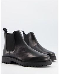 Walk London Черные Кожаные Ботинки Челси На Толстой Подошве Sean-черный Цвет