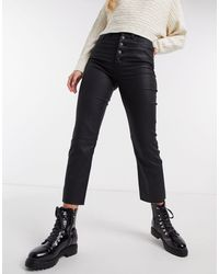 Abercrombie & Fitch High Rise Exposed Button Coated Straight Leg Jean - Black