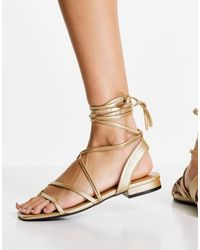 Miss Selfridge Eel Ankle Tie Flat Sandal - Metallic