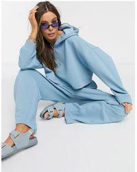 Monki Худи Голубого Цвета На Сквозной Молнии Из Вафельного Трикотажа От Комплекта Из 3 Предметов Wami-голубой - Синий