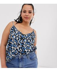 Simply Be Cami Top In Blue Leopard