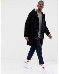 Lacoste L!ve Hooded Duffle Coat - Black