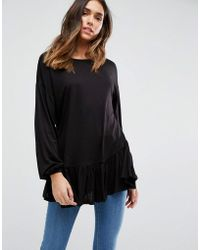 ASOS - Asos Top With Balloon Sleeve And Ruffle Hem - Lyst