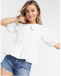 Monki Macy Peplum Blouse With Collar - White