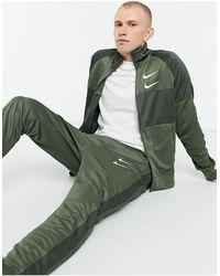 Nike Спортивная Куртка Swoosh Polyknit Цвета Хаки На Молнии-зеленый