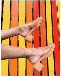 Bershka Sandales à talon mi-haut en plastique souple - Pêche - Multicolore