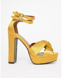 Glamorous - Satin Chunky Heeled Sandals - Lyst