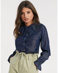Warehouse Ruffle Shirt - Blue