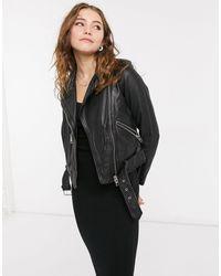 AllSaints Черная Кожаная Байкерская Куртка Balfern-черный