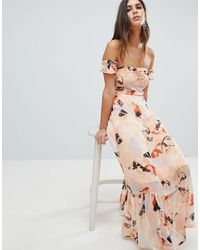 Y.A.S Brush Print Bardot Midi Dress With Ruffle Hem - Multicolour