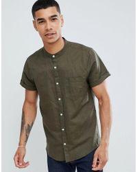 Pull&Bear - Short Sleeved Grandad Collar Shirt In Khaki - Lyst