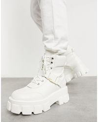Public Desire Kash Chunky Boots With Buckles - White