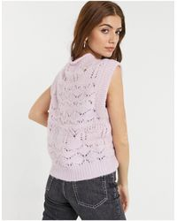 Object Cropped Knitted Vest - Purple
