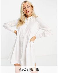 ASOS - Белое Свободное Платье-рубашка Мини Из Органического Хлопка - Lyst