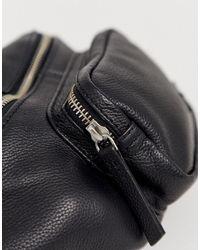 ASOS Leather festival cross body bum bag - Schwarz
