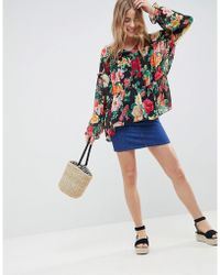 ASOS Tiered Smock Long Sleeve Blouse In Floral Print - Multicolour
