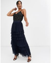 Angeleye Tiered Tulle Maxi Skirt - Blue