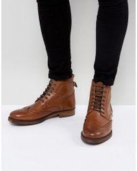Kurt Geiger Harry Brogue Boots In Tan - Brown