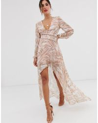 ASOS - Midi Dress With Lace Trims In Soft Animal Print - Lyst