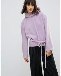 House Of Sunny - Oversized Casual Sweatshirt In Soft Fleece With Eyelet Detail - Lyst