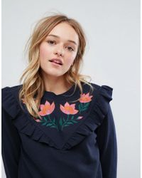 Monki | Floral Embroidered Frill Front Sweatshirt | Lyst
