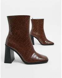Monki Robbie Faux Leather Heeled Boots - Brown