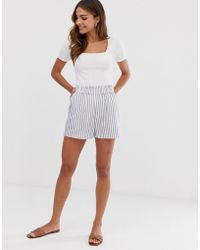 B.Young Stripe Cotton Shorts - White