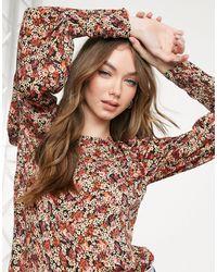 Vero Moda Красная Блузка С Мелким Цветочным Принтом И Длинными Объемными Рукавами -многоцветный - Коричневый