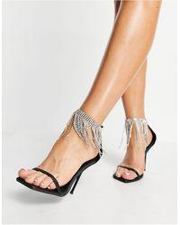 Public Desire Redemption Heeled Sandals With Diamante Fringe - Black