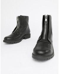 London Rebel - Zip Up Chunky Flat Boots - Lyst