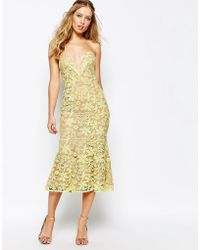 Jarlo Plunge Neck Midi Dress In All Over Lace - Yellow