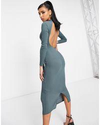 Club L London Платье Мидакси Грифельного Цвета С Открытой Спиной -фиолетовый Цвет - Пурпурный