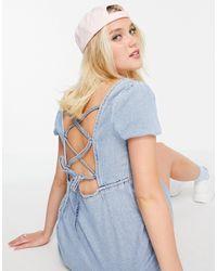 Hollister Puff Sleeve Tie Back Mini Dress - Blue