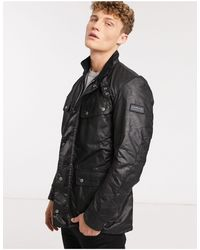 Barbour - Черная Вощеная Куртка Узкого Кроя -черный Цвет - Lyst