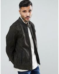 Goosecraft - Austin Distressed Leather Jacket In Gray - Lyst
