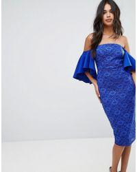 ASOS DESIGN - Asos Lace Bardot Midi Dress With Extreme Sleeves - Lyst
