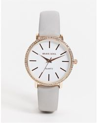 Brave Soul Faux Leather Watch With Diamonte Detail - Gray