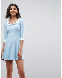 Hell Bunny - Beebee Skater Dress With Collar Detail - Lyst