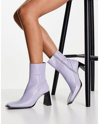 TOPSHOP Harper Leather High Ankle Boot - Purple