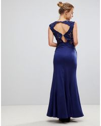 Little Mistress - A Line Bridesmaid Maxi Dress With Lace Inserts - Lyst