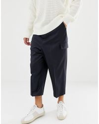 ASOS Drop Crotch Tapered Smart Pants In Navy Wool With Cargo Pockets - Blue