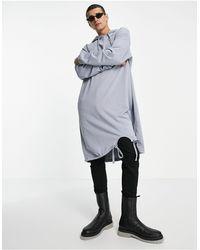 ASOS Sudadera larga gris extragrande con capucha - Multicolor