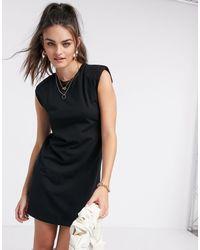 Stradivarius Padded Shoulder Dress - Black