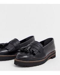 ASOS Maxfield - Mocassins pointure large en cuir à franges - Noir
