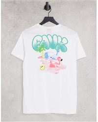 Friend or Faux T-shirt bianca con stampa - Rosa