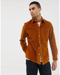 ASOS Облегающая Вельветовая Рубашка Горчичного Цвета - Многоцветный