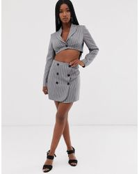 ASOS Extreme High Waisted Suit Skirt With Buttons In Pinstripe - Gray