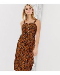 Missguided Midi Dress With Square Neck In Tiger Print - Brown